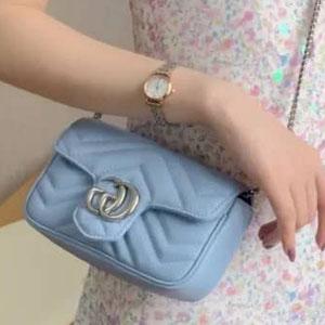 补货!Gucci 古驰女士super mini GG Marmont蓝色链条包