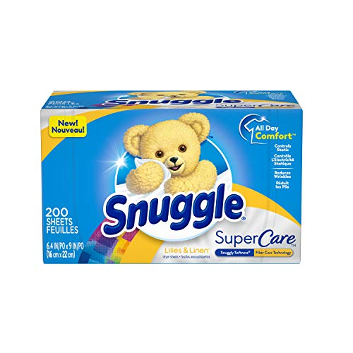 Snuggle SuperCare Fabric Softener Dryer Sheets, Lilies and Linen, 200 Count