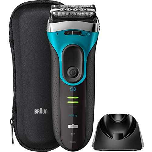 Braun Electric Razor for Men, Series 3 ProSkin 3080s Electric Shaver, Rechargeable, Wet & Dry Foil Shaver plus Charging Stand & Travel Pouch