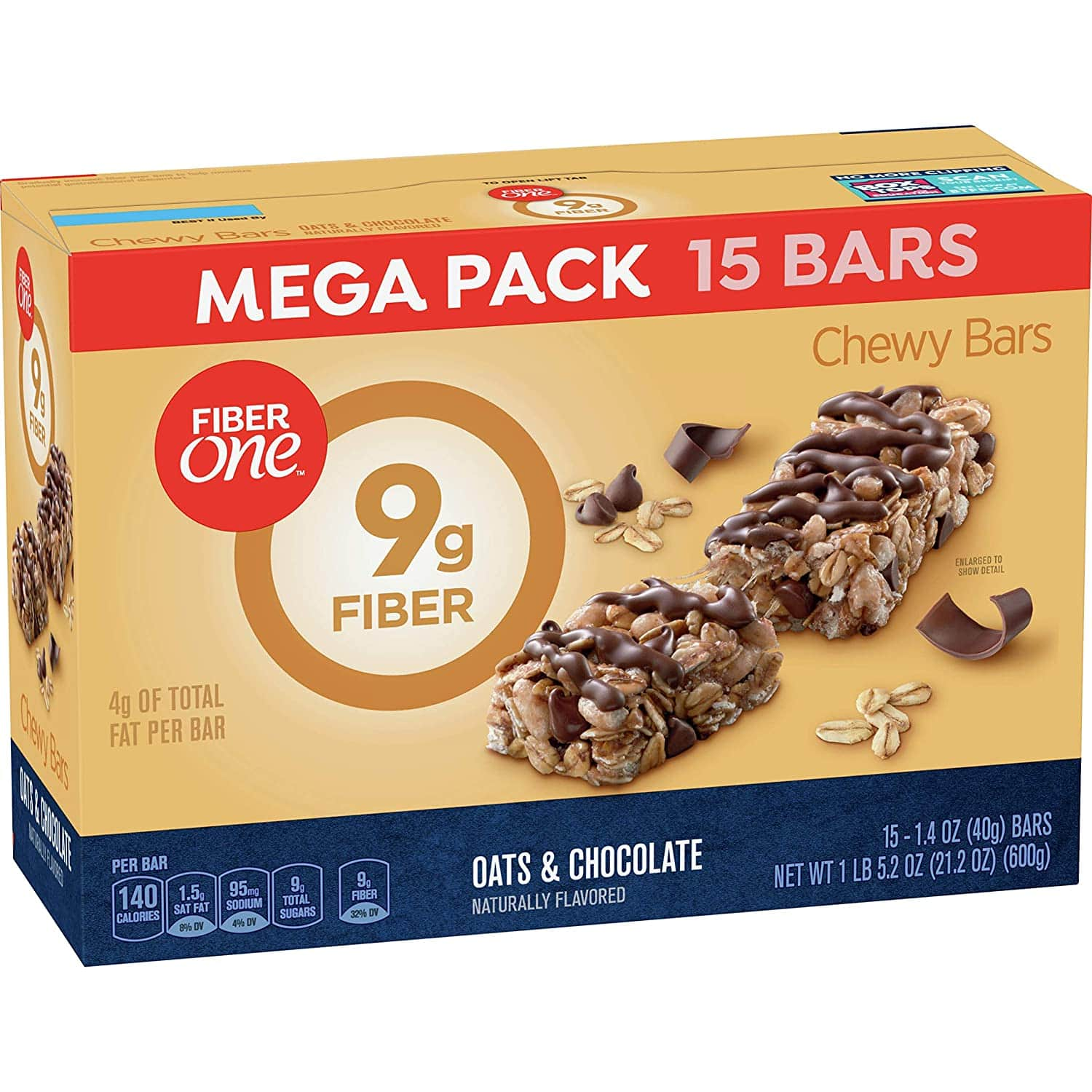 15-Count Mega Pack 1.4-Oz Fiber One Chewy Bars (Oats and Chocolate)