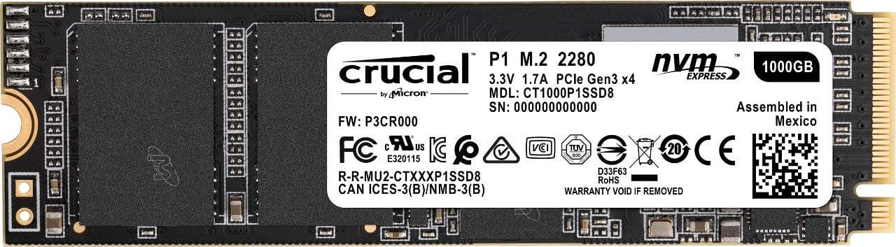 1TB Crucial P1 3D NAND M.2 NVMe PCIe Solid State Drive