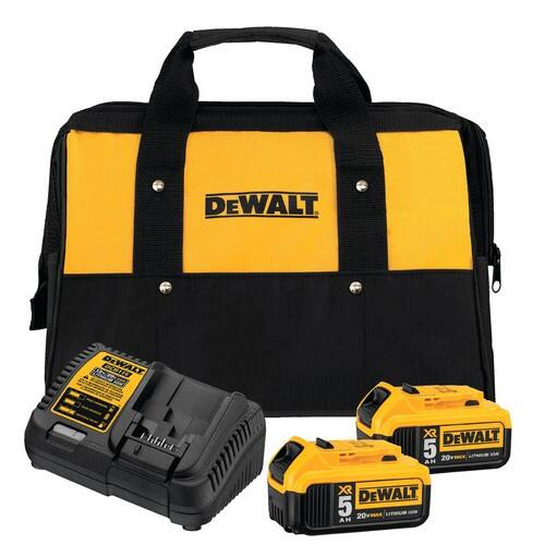 DeWalt XR 20V Max 2-Pack 5Ah Li-ion Battery + Charger Kit + Select Bonus Tool