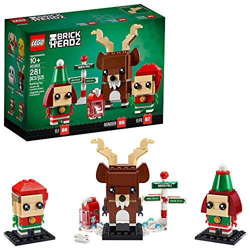 LEGO Brickheadz Reindeer, Elf and Elfie 40353 Building Toy, New 2020 (281 Pieces)