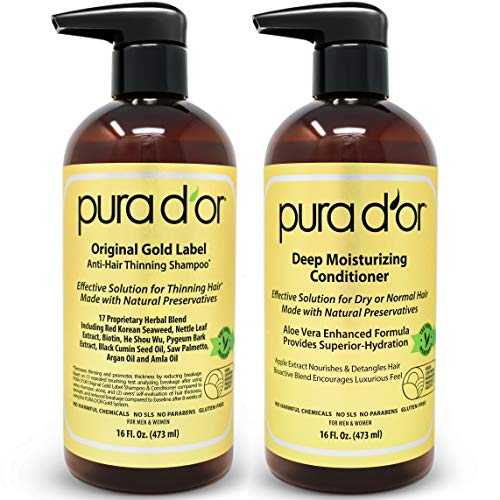 PURA D'OR Biotin Original Gold Label Anti-Thinning (16oz x 2) Shampoo & Conditioner Set, Clinically Tested Effective Solution w/ Herbal DHT Ingredie