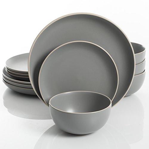 史低价!Gibson Home 灰色陶瓷餐具12件套