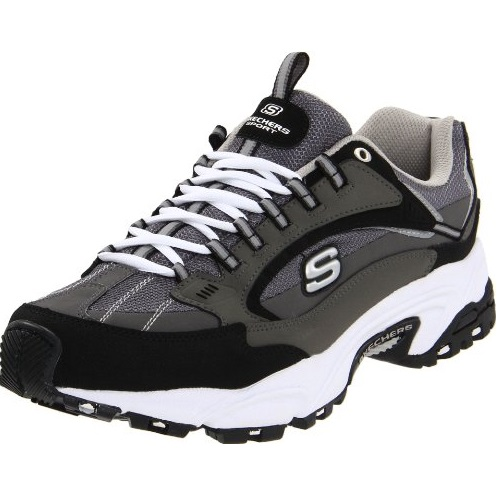 Skechers Sport Men's Stamina Nuovo Lace-Up Sneaker,Charcoal/Black,8 M US