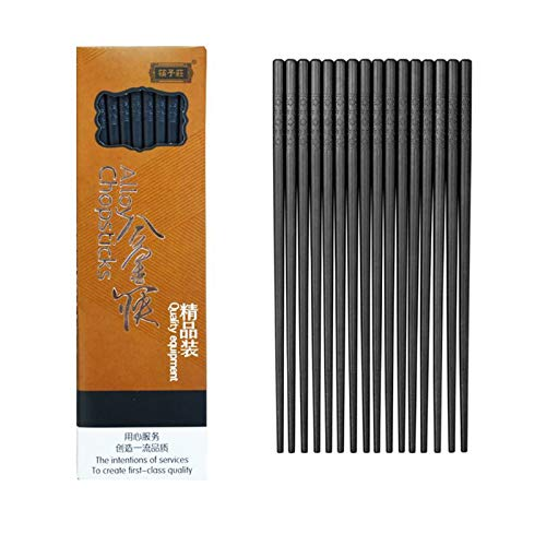 Jsdoin 10-Pairs Fiberglass Chopsticks - Reusable Chopsticks Dishwasher Safe, 9 1/2 Inches By JSDOIN (Fiberglass Chopsticks) (Classic Black)