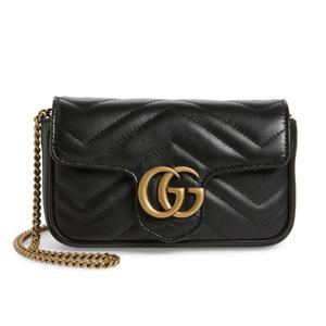 Gucci 古驰女士supermini GG Marmont链条包 黑色