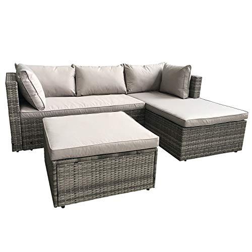 史低价!AmazonBasics 户外沙发脚凳组合 带坐垫和靠枕