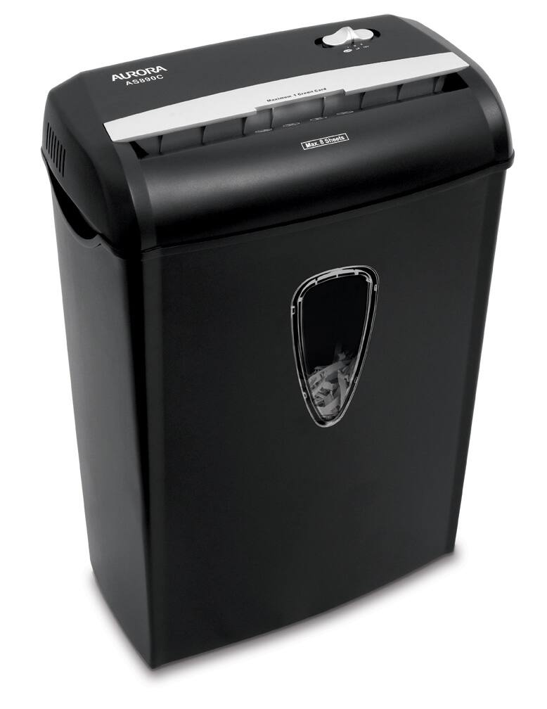 Aurora 8-Sheet Cross-Cut Paper Shredder w/ 3.6-Gallon Waste Basket