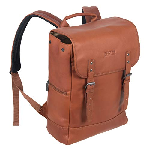 "Kenneth Cole Reaction Colombian Leather Single Gusset Flapover Computer Backpack, 14.1"", Brown"