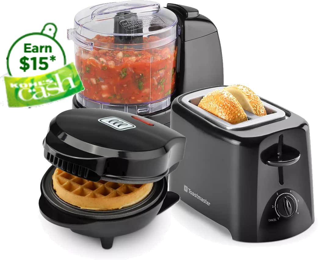 Toastmaster Appliances: Mini Popcorn Popper, Hand Mixer, Mini Waffle Maker + $15 KC
