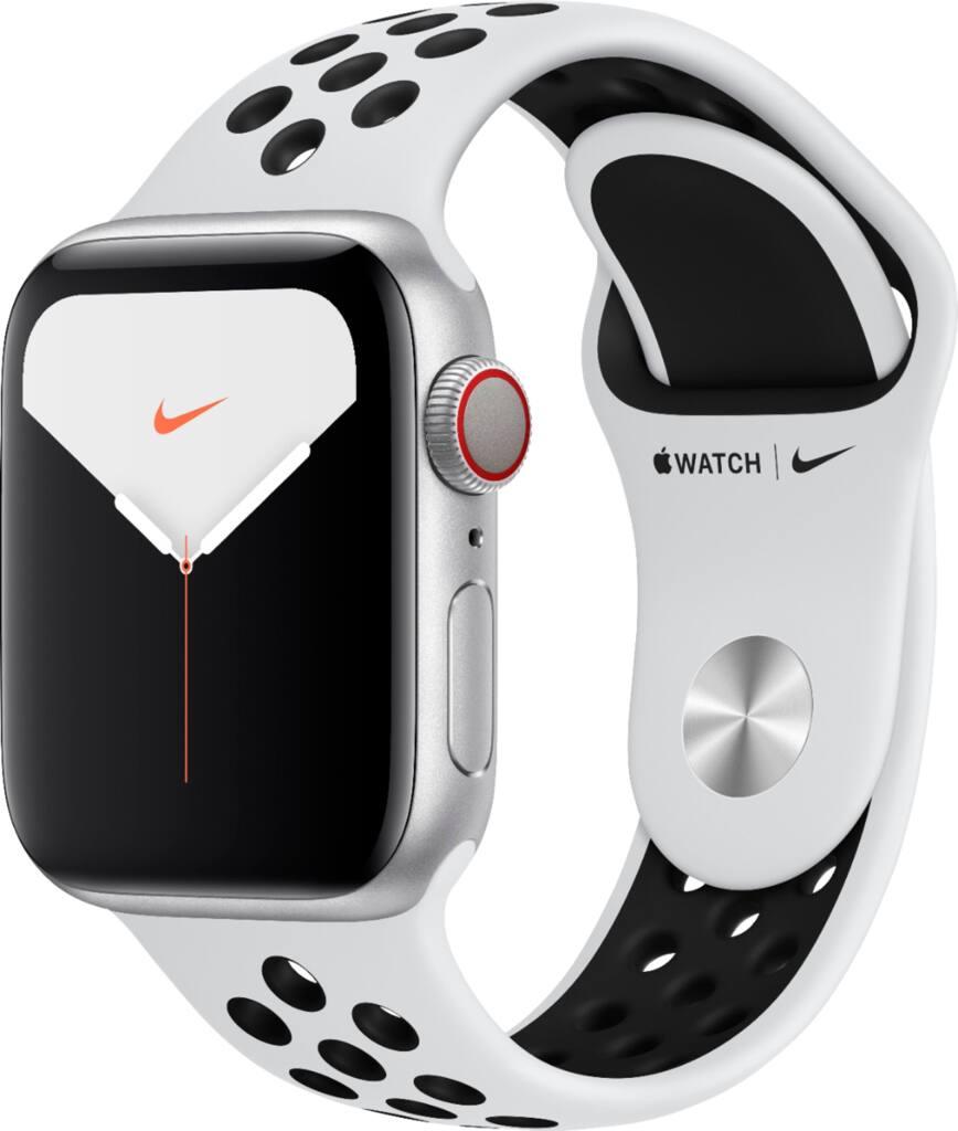 Apple Watch Nike Series 5 (GPS + Cellular) 40mm Silver Aluminum Case w/ Nike Sport Band
