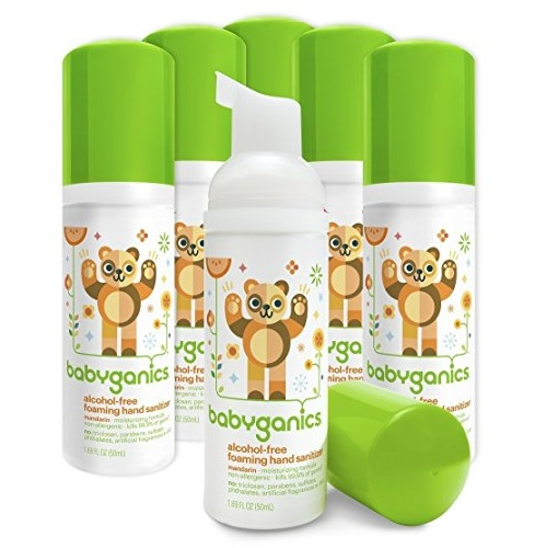 Babyganics Alcohol-Free Foaming Hand Sanitizer, Mandarin, On-The-Go, 50 ml (1.69-Ounce), Pump Bottle (Pack of 6)