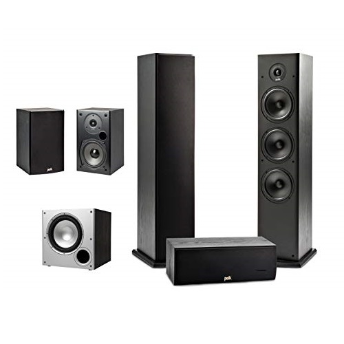 Polk Audio 5.1 Channel Home Theater System with Powered Subwoofer |Two (2) T15 Bookshelf, One (1) T30 Center Channel, Two (2) T50 Tower Speakers, PSW10 Sub | Alexa + HEOS