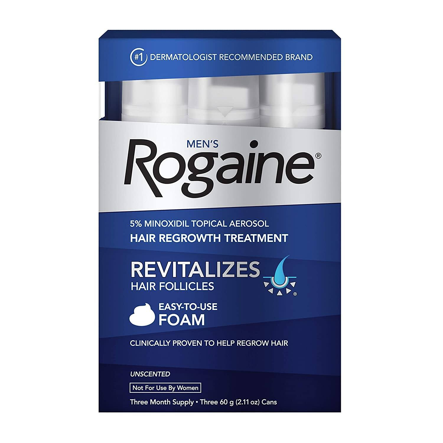 3-Pack of 2.11oz Men's Rogaine 5% Minoxidil Foam for Hair Loss & Hair Regrowth