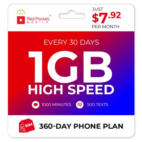 360-Day Red Pocket Prepaid Plan: 1K Minutes Talk, Unlimited Text + 1GB Data /mo.