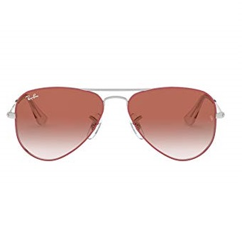Ray-Ban Junior Unisex-Child RJ9506S Metal Sunglasses, Silver On Top Red/Red Gradient Mirror, 50 mm
