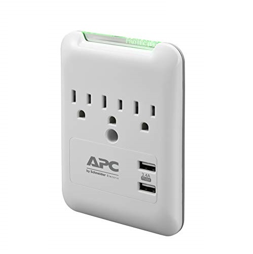 APC Wall Outlet Surge Protector with USB Ports, PE3WU3, (3) AC Multi Plug Outlet, 540 Joule Surge Protection