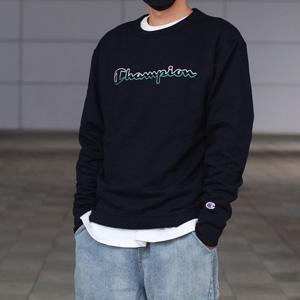 Champion冠军Logo拼色草写男士卫衣