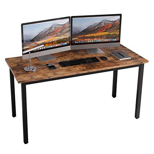 黑五好价!IRONCK 55英寸办公桌,仅厚0.7英寸带1.6英寸坚固金属框架,工业风格,适用于家庭办公,复古棕色, 仅售