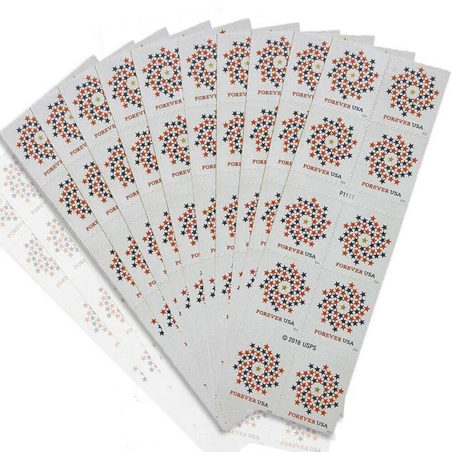 100-Pack USPS Forever Stamps (2018 U.S. Flag or Patriotic Spiral Christmas)