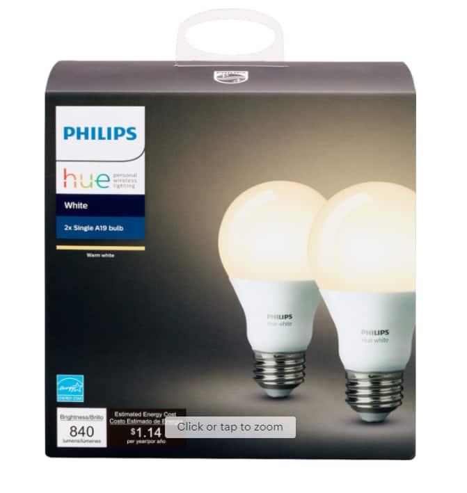 2-Pack Philips Hue White A19 Smart LED Light Bulbs