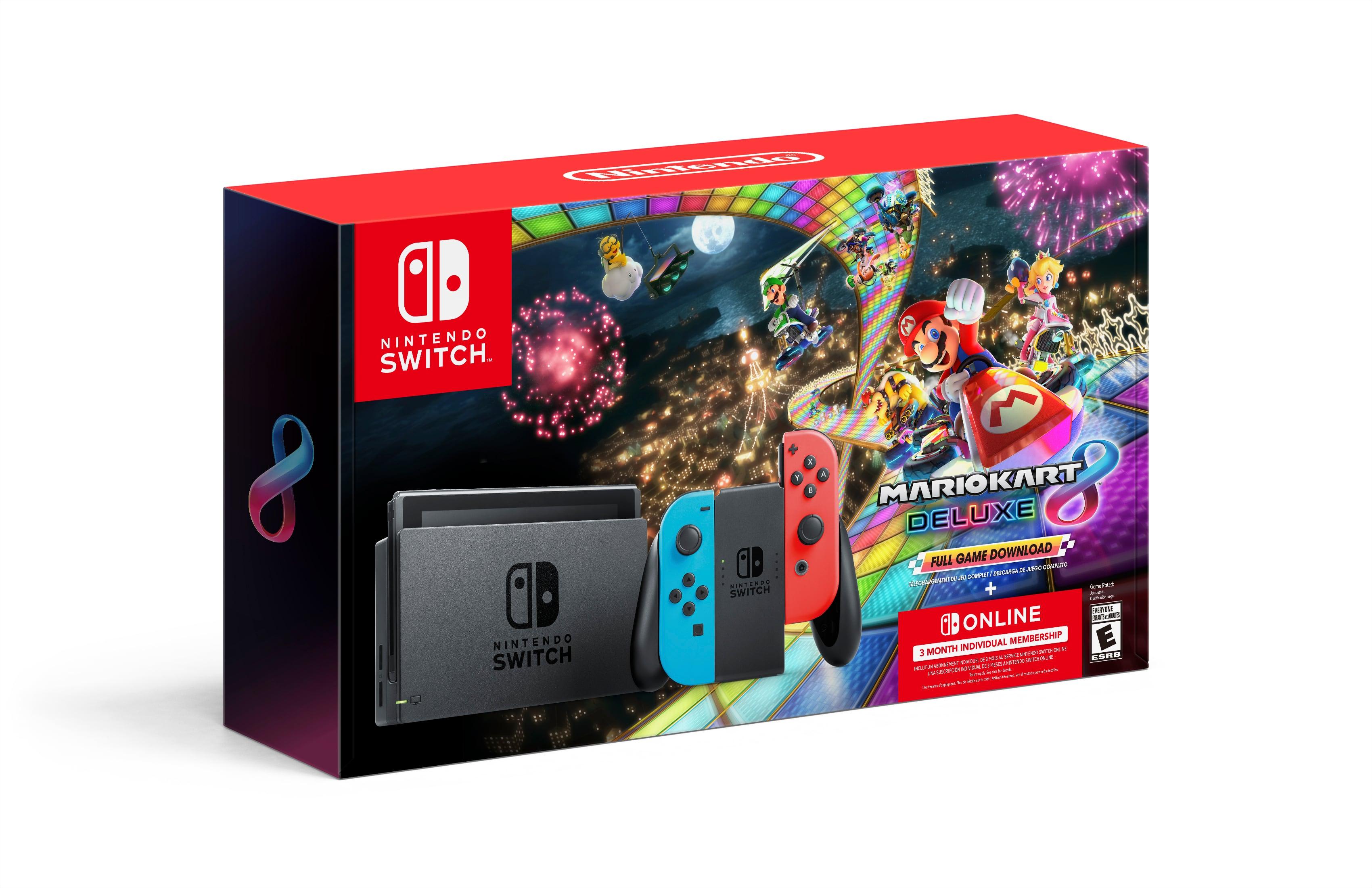 Nintendo Switch Console + Mario Kart 8 Deluxe (Digital) + 3-Mo. Nintendo Online