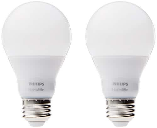 Philips Hue White A19 60W-Equivalent Dimmable Smart LED Bulb 2-Pack