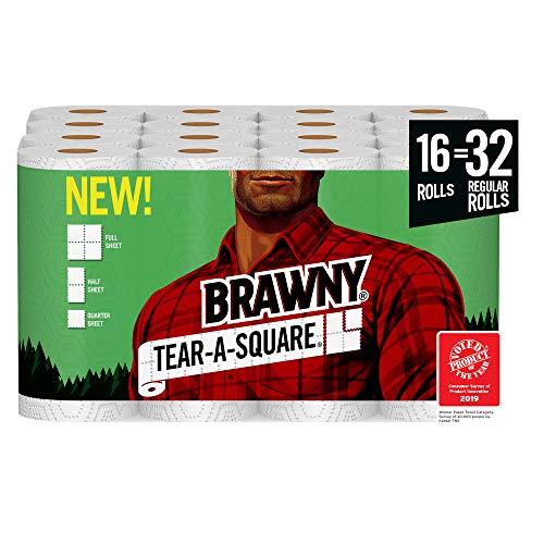 Brawny Tear-A-Square Paper Towels, Quarter Size Sheets