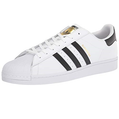 adidas Originals Men's Super-Star Sneaker, White/deep Black/White, 10
