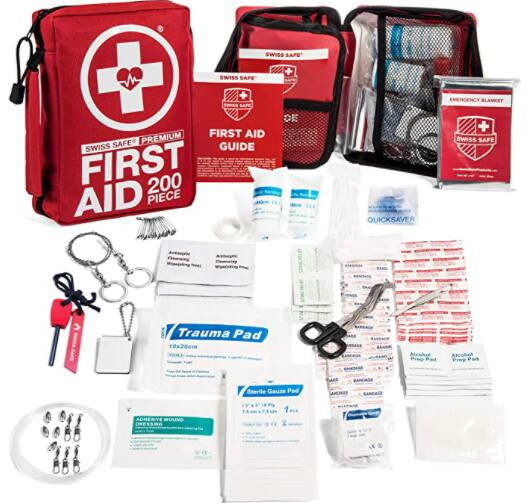 200-Piece  Swiss Safe Professional Outdoors First Aid Kit