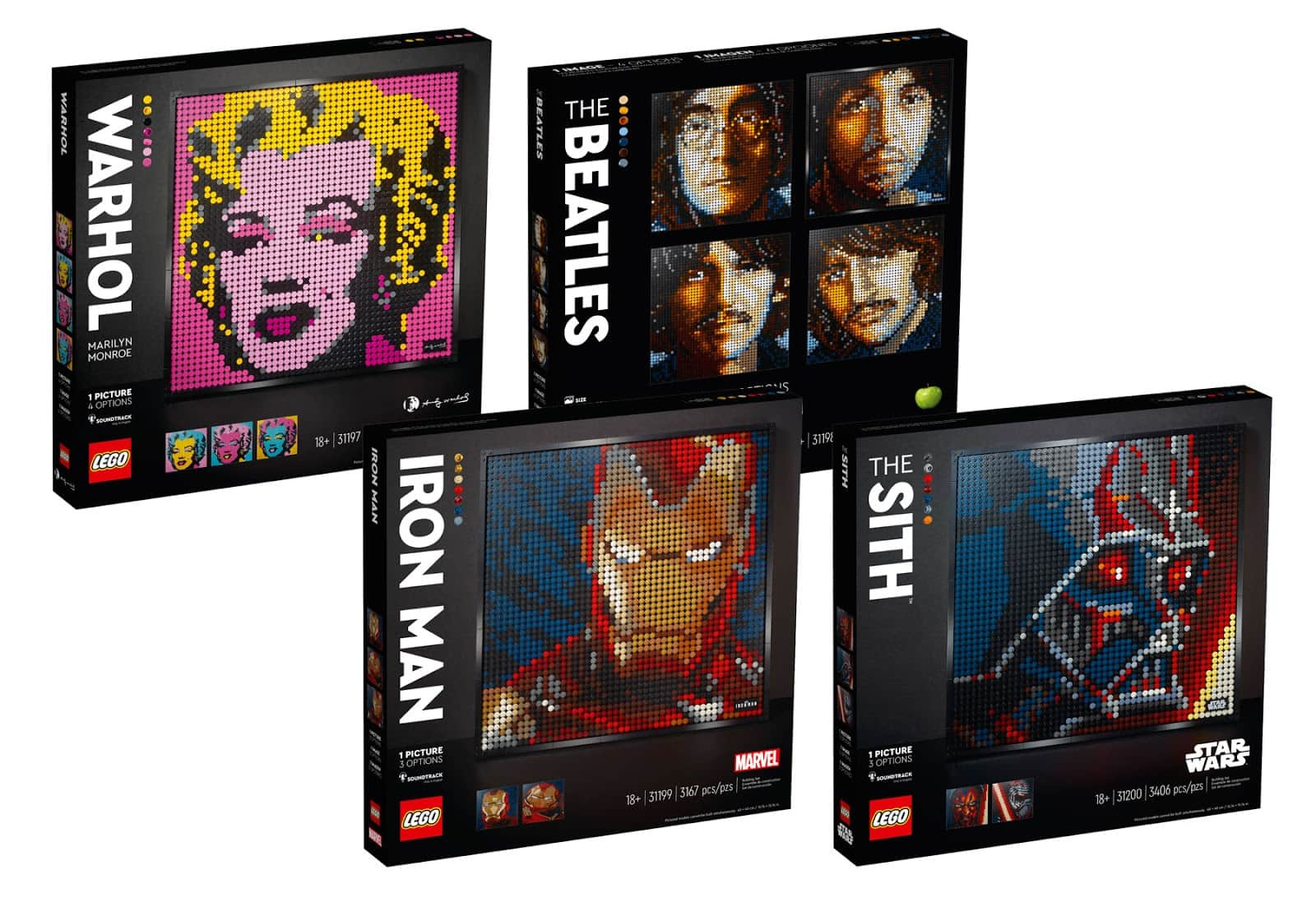 LEGO Art Building Kits: Andy Warhol's Marilyn Monroe, The Beatles or Iron Man