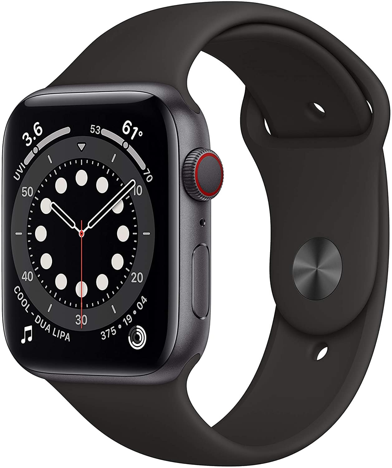 Apple Watch Series 6 (GPS + Cellular, 44mm) with Black Sport Band
