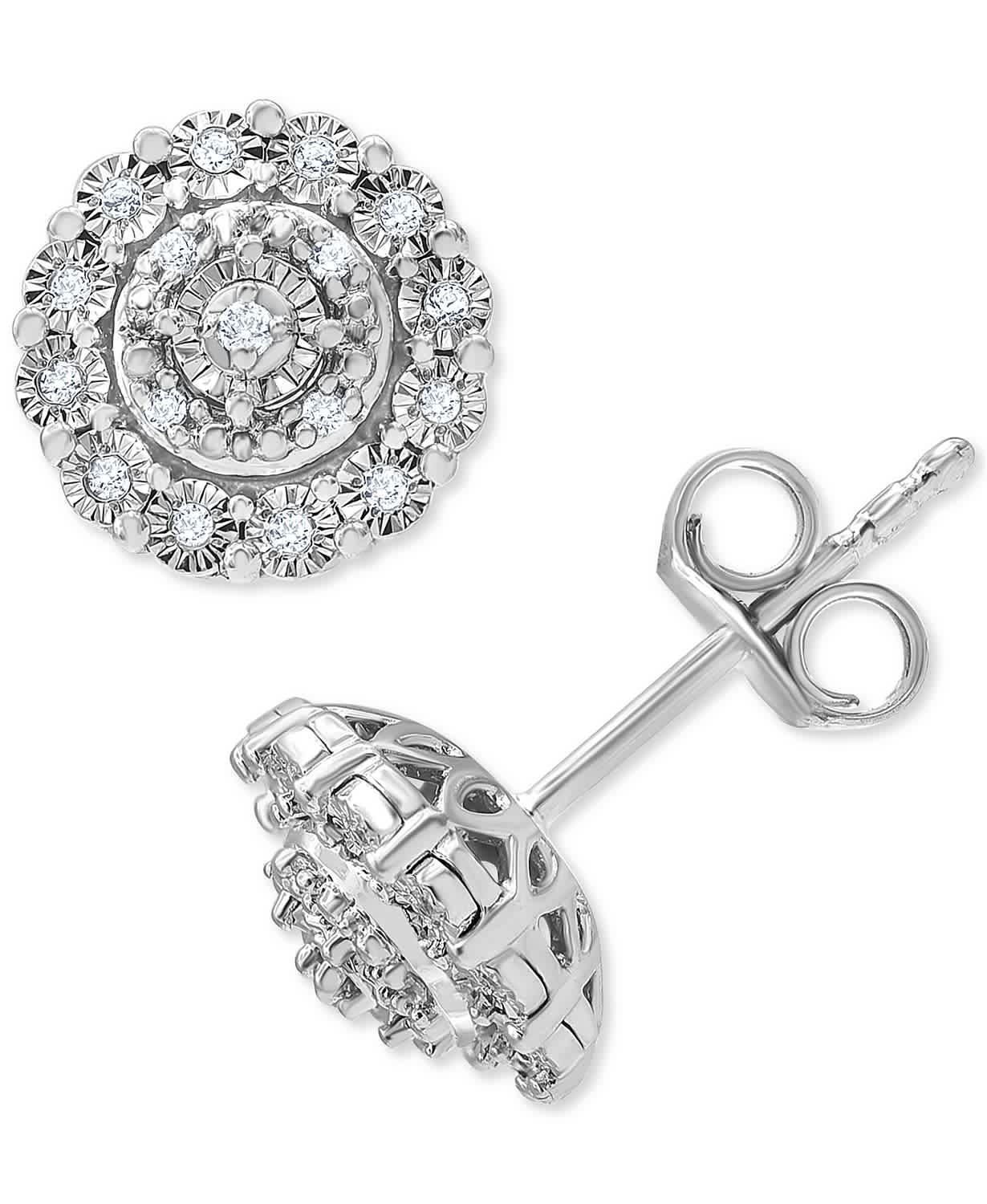 Macy's 1/10-tcw Diamond Halo Cluster Stud Earrings