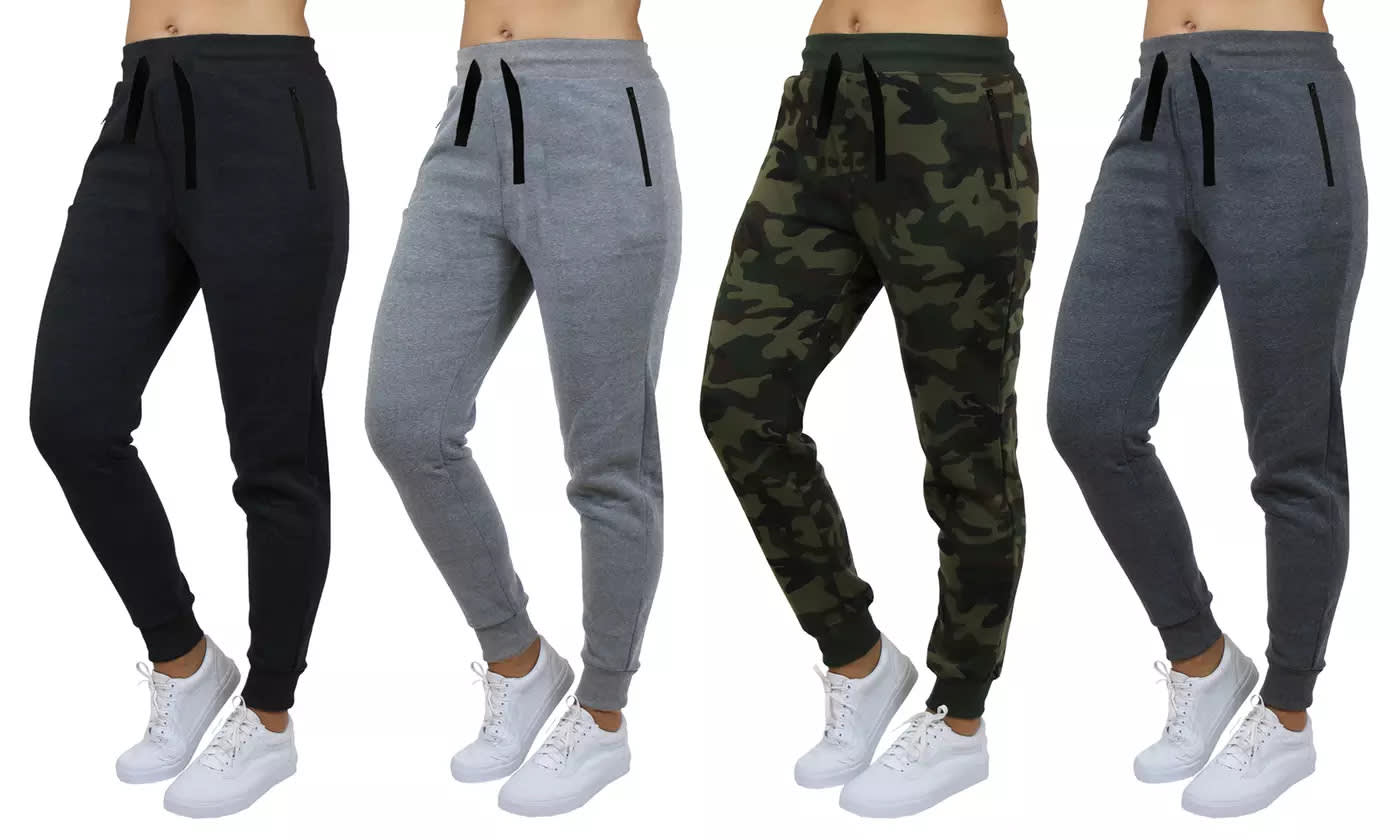 Women's Terry Joggers w/ Zipper Pockets 4-Pack