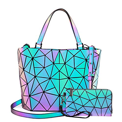 Cyber Monday Deal! Geometric Luminous Purses and Handbags for Women Holographic Reflective Crossbody Bag Wallet discounted price