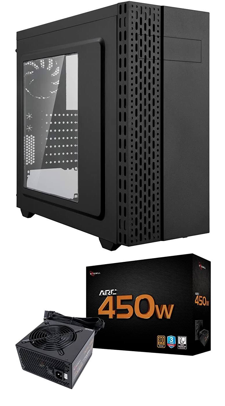 Rosewill Zircon T ATX Mid Tower Case + Rosewill Arc 450W Power Supply