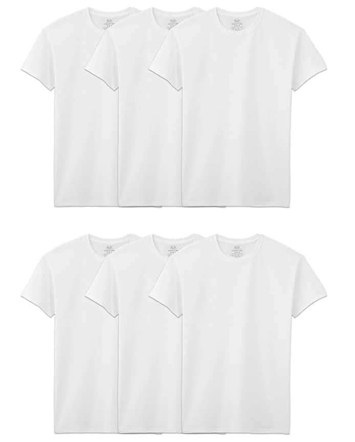 6-Pack Fruit of the Loom Men's Stay Tucked Crew T-Shirt (Classic Fit or Tapered)