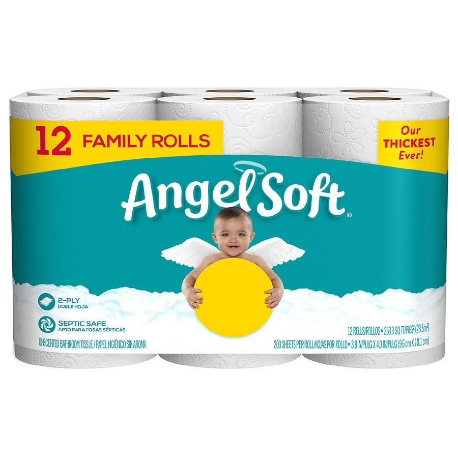 12-Count Angel Soft Bath Tissue Family Rolls