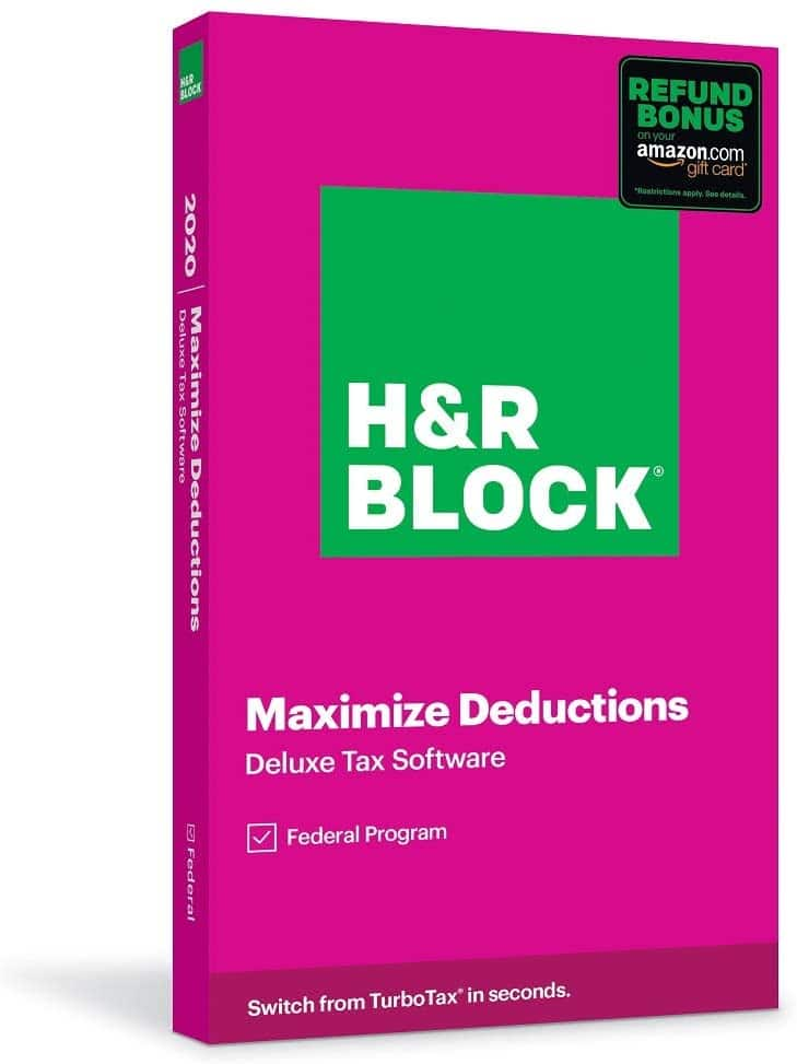 H&R Block 2020 Tax Software w/ Refund Bonus Offer: Deluxe Federal