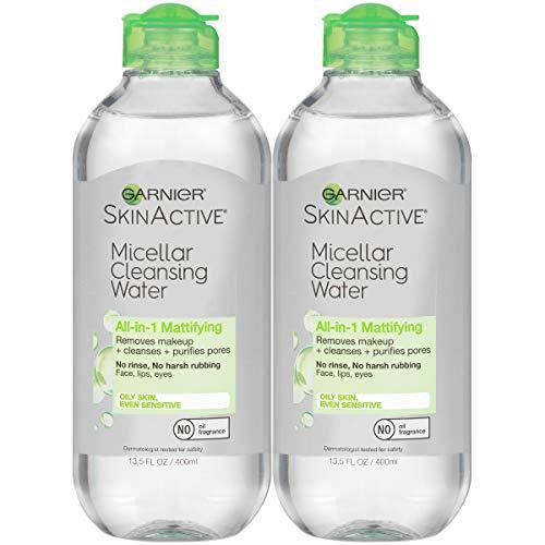 史低价!Garnier 卡尼尔多合一温和卸妆洁肤水,油性皮肤,13.5 oz/瓶,共2瓶