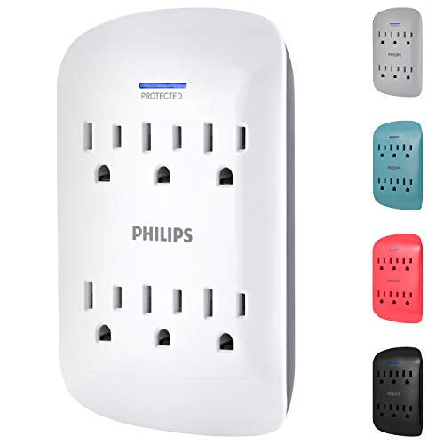 PHILIPS 6-Outlet Surge Protector Tap, 900 Joules, Space Saving Design, 3-Prong, Protection Indicator LED Light, Gray & White, SPP3461WA/37