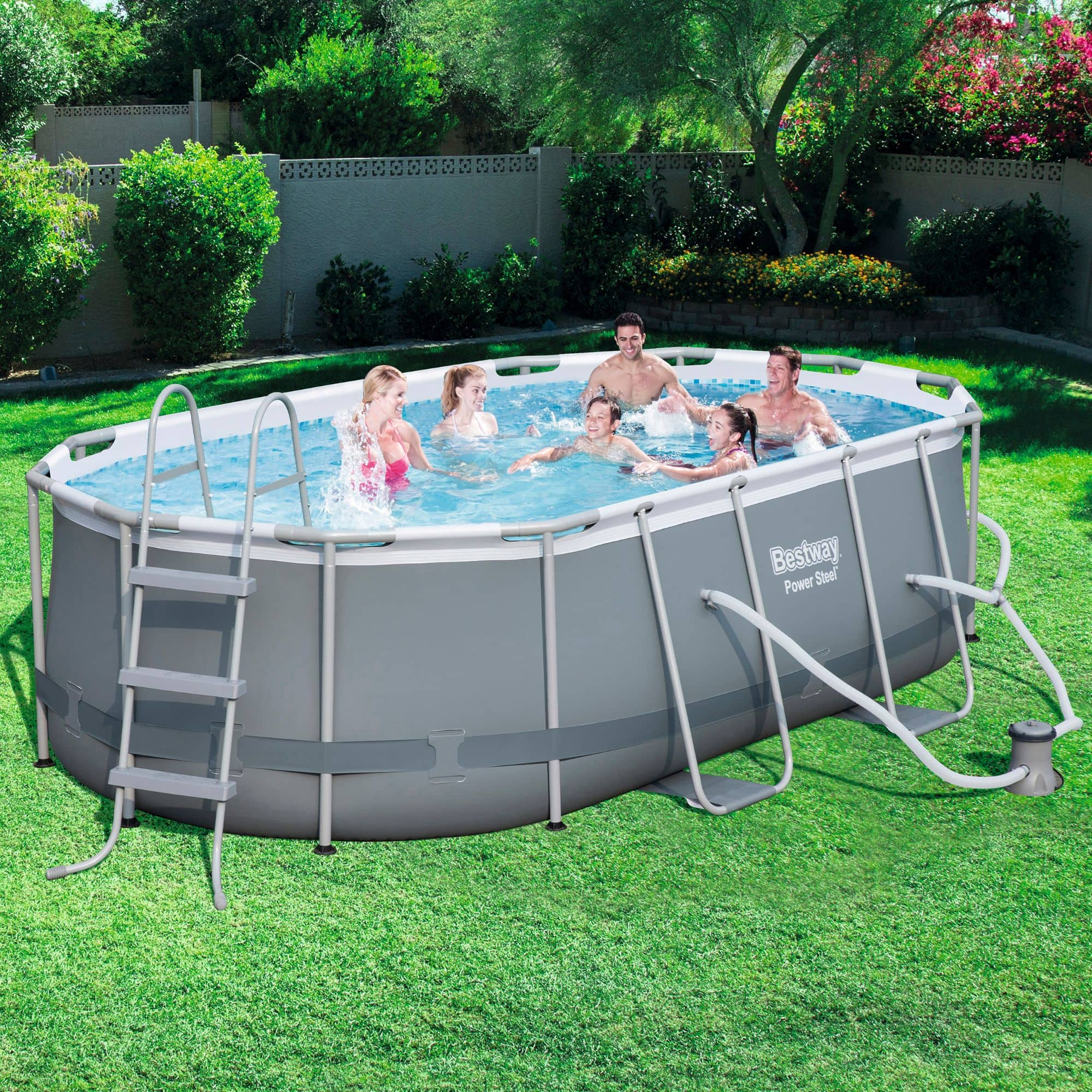 "Bestway Power Steel Oval Swimming Pool Set (14' x 8'2"" x 39.5"")"