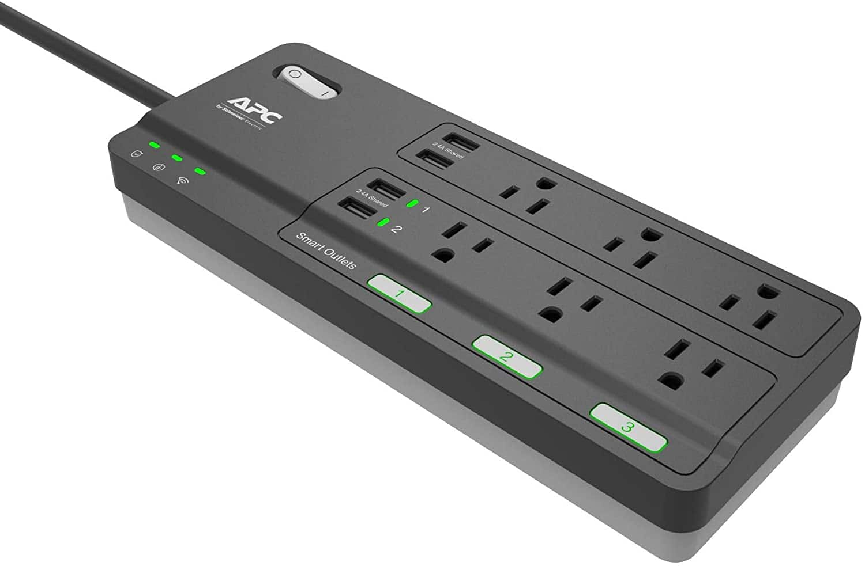 APC Smart Plug Surge Protector: 6 Outlets Total (3 Alexa Wi-Fi Smart Plugs)
