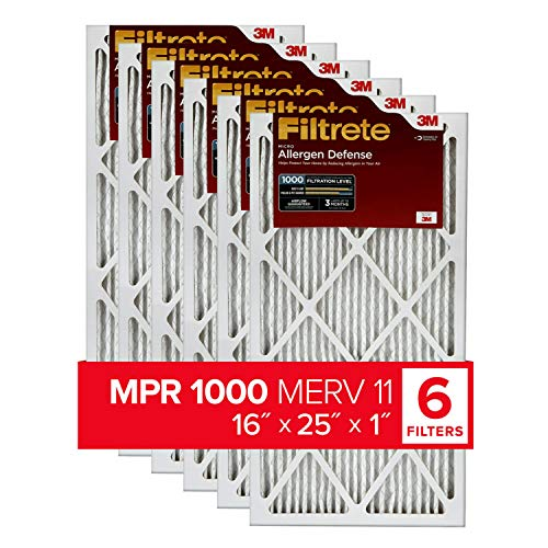 Filtrete 16x25x1, AC Furnace Air Filter, MPR 1000, Micro Allergen Defense, 6-Pack (exact dimensions 15.69 x 24.69 x 0.81)