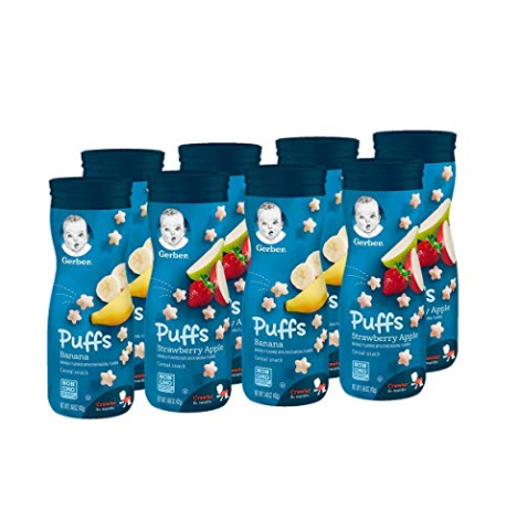Gerber Puffs Cereal Snack, Banana and Strawberry Apple, 8 Count