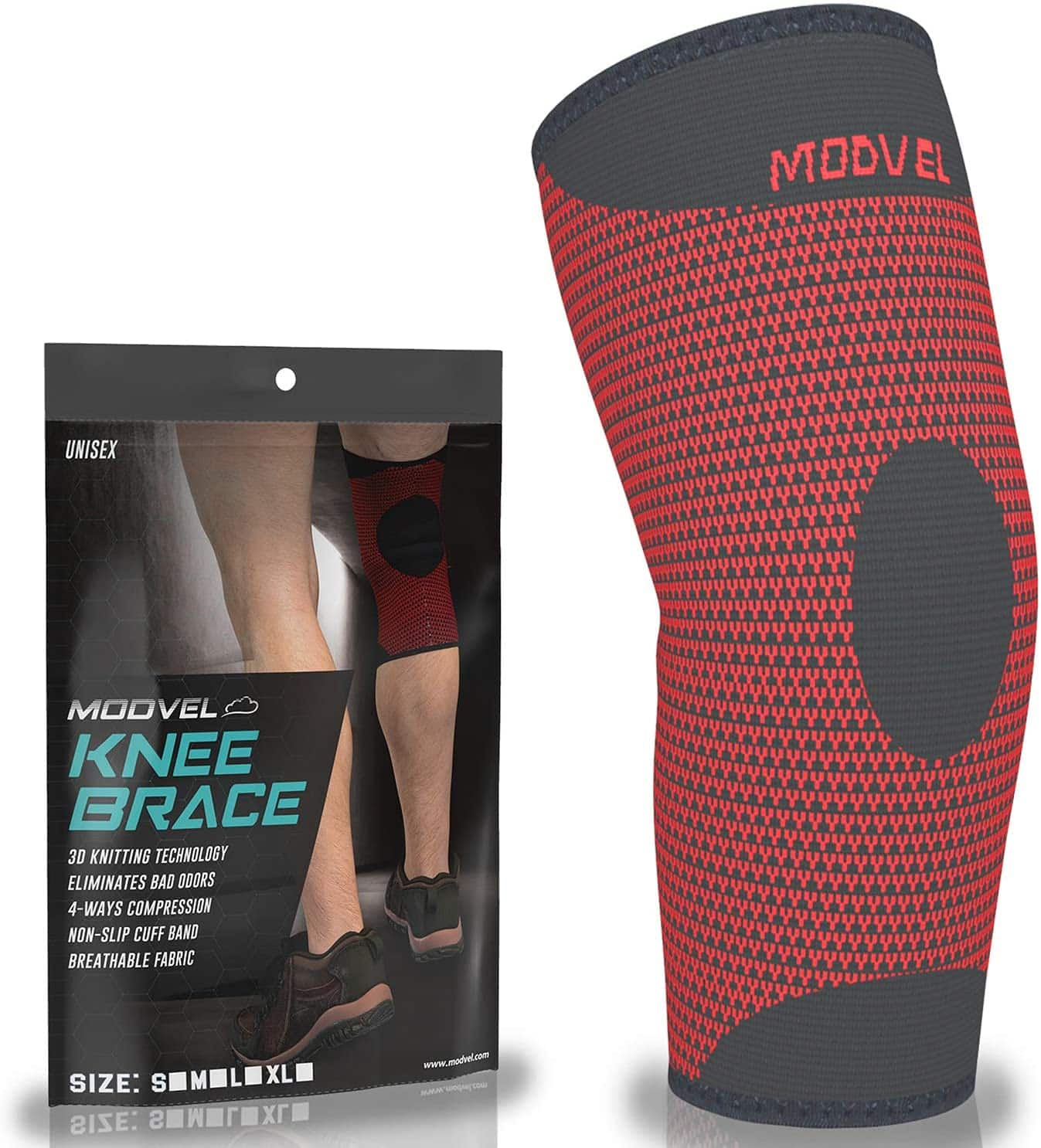 Modvel Men's or Women's Knee Compression Sleeve (Red)