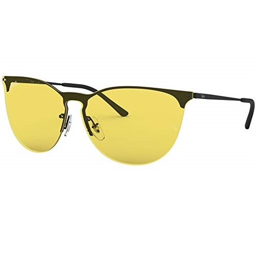 Ray-Ban Unisex-Adult RB3652 Erika Metal Sunglasses, Rubber Black/Yellow, 41 mm