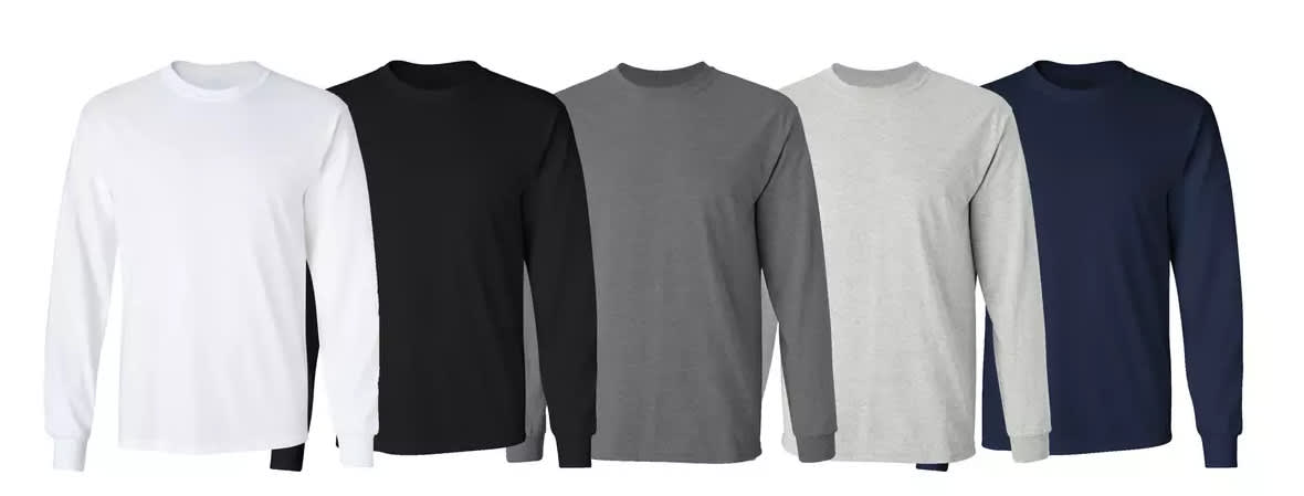 Men's Long Sleeve Crew Neck T-Shirt 5-Pack
